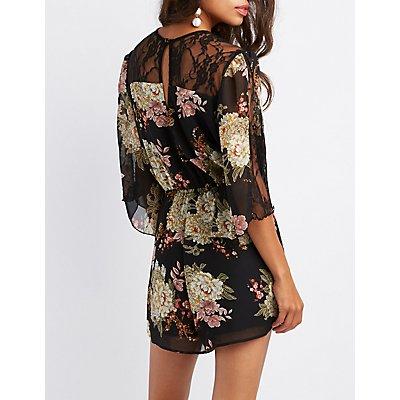 Floral Lace-Inset Kimono Romper