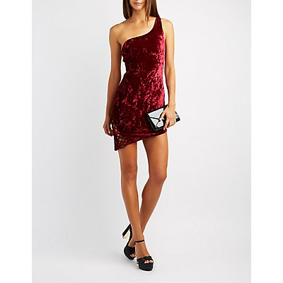 Lattice-Detail One-Shoulder Bodycon Dress