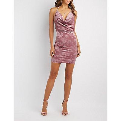 Flocked Velvet Halter Bodycon Dress