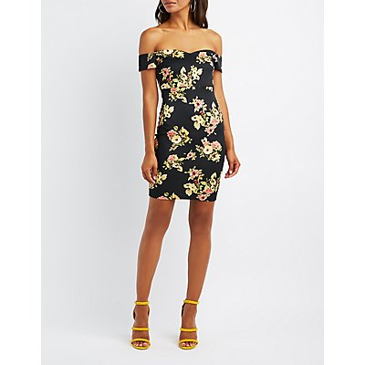 Floral Off-The-Shoulder Bodycon Dress