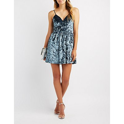 Velvet Strappy-Back Skater Dress