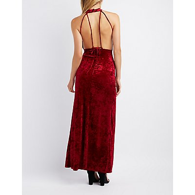 Velvet Lace-Up Back Maxi Dress