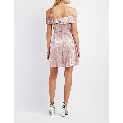 Velvet Ruffle Cold Shoulder Skater Dress