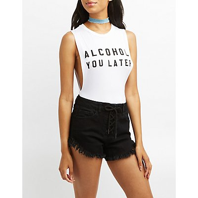 Alcohol You Later Muscle Tank Bodysuit