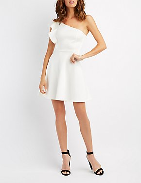 Ruffle-Trim One-Shoulder Skater Dress