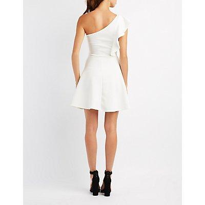 Ruffle-Trim One-Shoulder Skater Dress