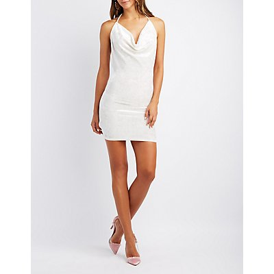 Cowl Neck Open-Back Bodycon Dress