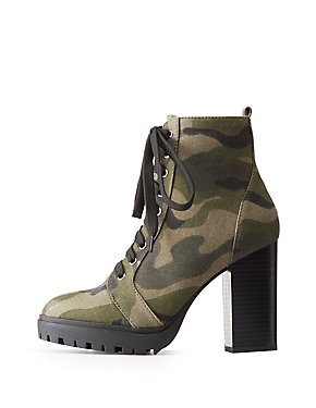 Camo Print Lace-Up Ankle Booties