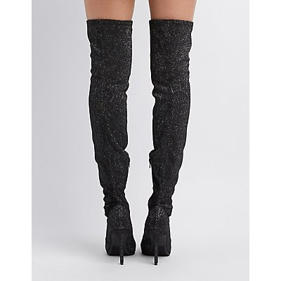Glitter Pointed Toe Over-The-Knee Boots