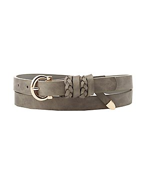 Braid-Trim Faux Leather Belt