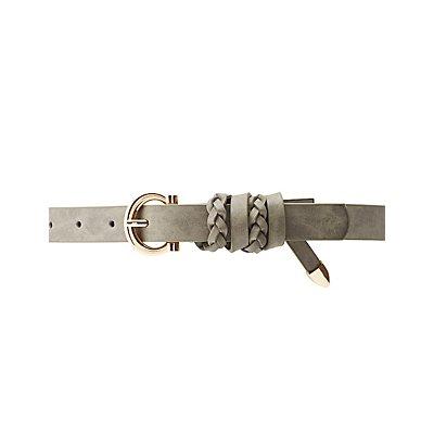 Braid-Trim Faux Leather Belt