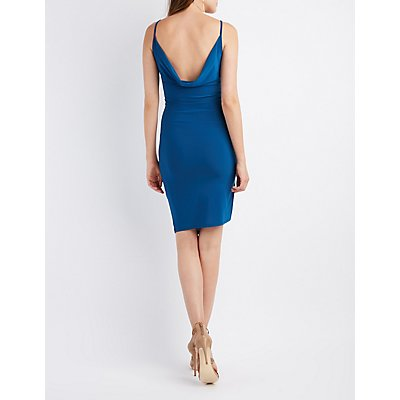 Cowl-Back Ruched Wrap Dress