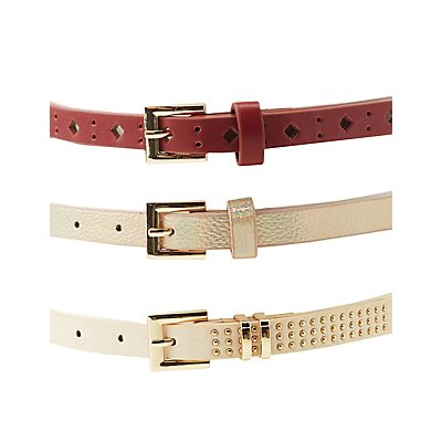 Holographic, Studded, & Laser Cut Belts - 3 Pack
