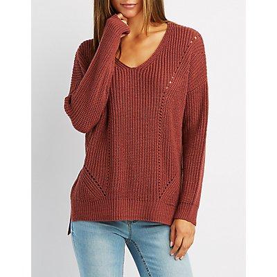 Shaker Stitch Ribbed Trim Sweater