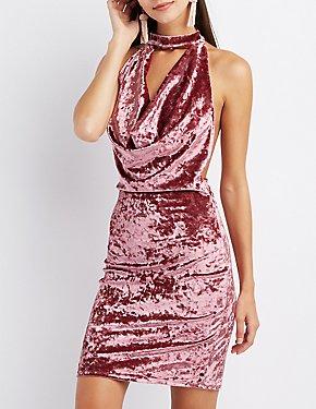 Velvet Mock Neck Draped Dress
