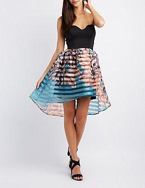 Striped & Floral Skater Dress