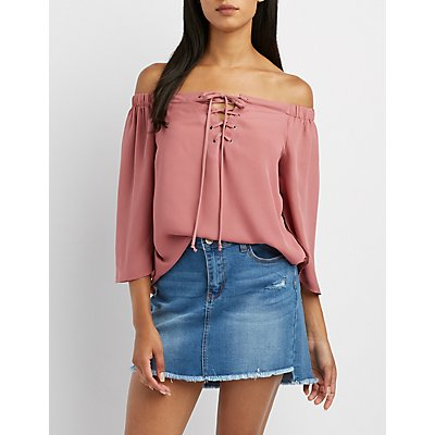 Lace-Up Off-The-Shoulder Flutter Split Sleeve Top