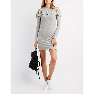 Ruffle-Trim Cold Shoulder Shift Dress