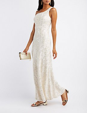 Sequin One-Shoulder Maxi Dress