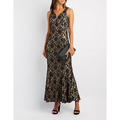 Brocade Mermaid Maxi Dress