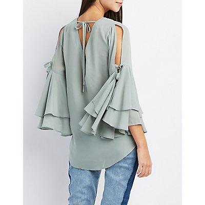 Split Bell Sleeve Blouse