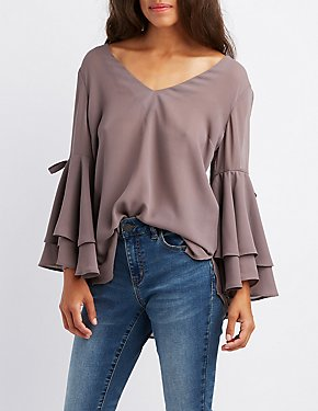 Split Bell Sleeve Blouse