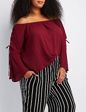Plus Size Lace-Up Detail Off-The-Shoulder Top
