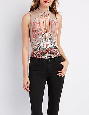 Choker Neck Graphic Bodysuit