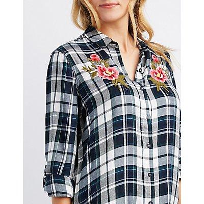 Embroidered Plaid Flyaway Shirt