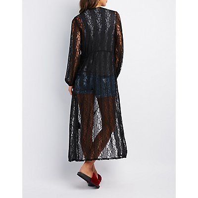 Lace Tie-Front Duster