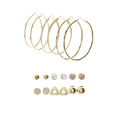 Embellished Stud & Etched Metal Hoop Earrings - 9 Pack