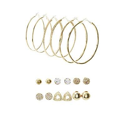 Embellished Stud & Etched Metal Hoop Earrings - 9 Pack
