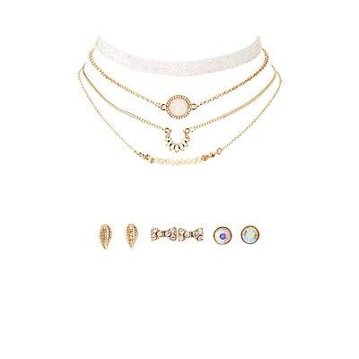 Embellished Choker Necklace & Stud Earrings - 7 Pack