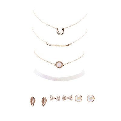Embellished Choker Necklace & Stud Earrings - 7 Pack