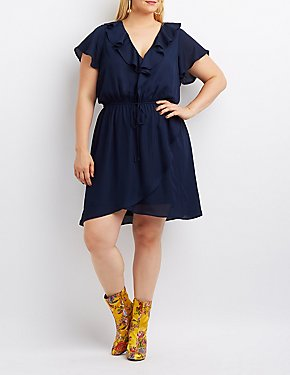 Plus Size Ruffle-Trim Skater Dress