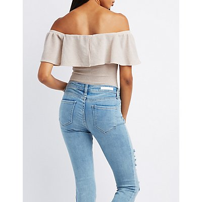 Shimmer Knit Ruffle Off-The-Shoulder Bodysuit