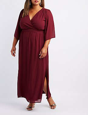 Plus Size Kimono Sleeve Surplice Maxi Dress