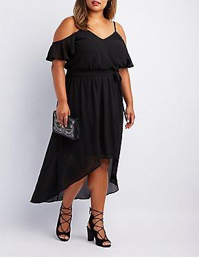 Plus Size Cold Shoulder High-Low Dress