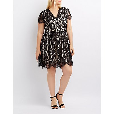 Plus Size Eyelash Lace Skater Dress