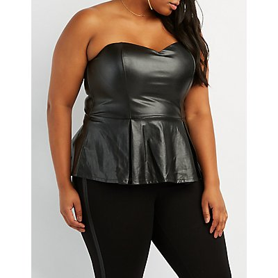 Plus Size Faux Leather Peplum Top