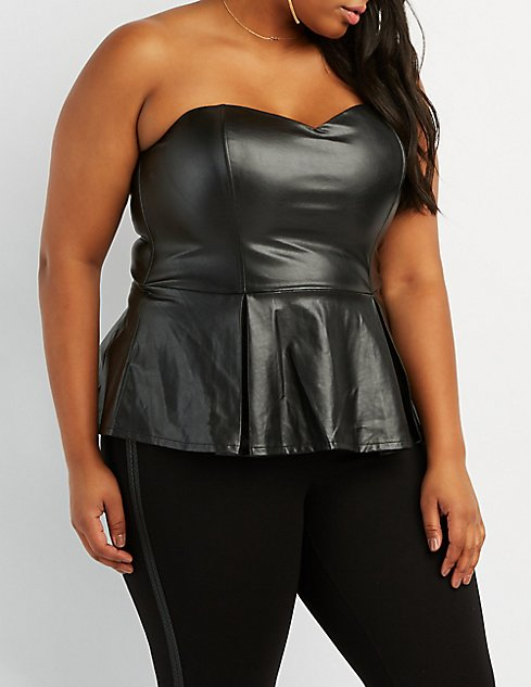 Plus Size Faux Leather Peplum Top Charlotte Russe