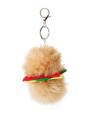 Faux Fur Hamburger Key Chain