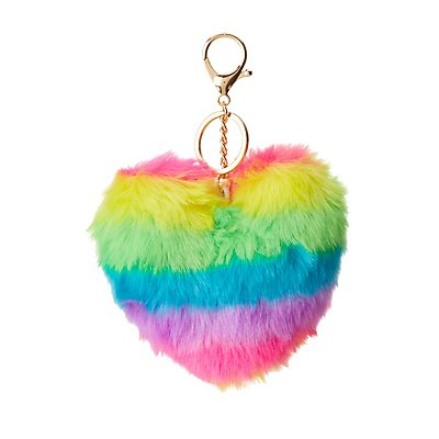 Faux Fur Rainbow Heart Key Chain