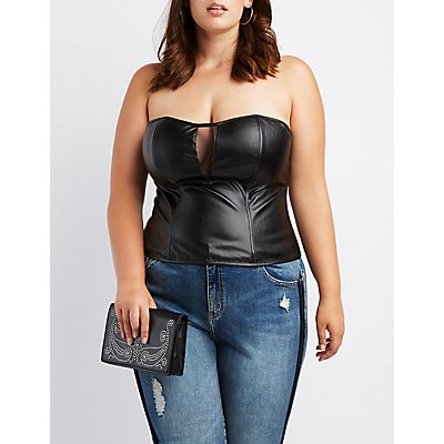 Plus Size Faux Leather Strapless Bustier