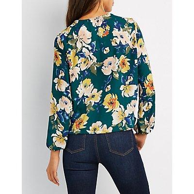 Floral Lace-Up Surplice Blouse