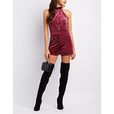 Velvet Mock Neck Surplice Romper