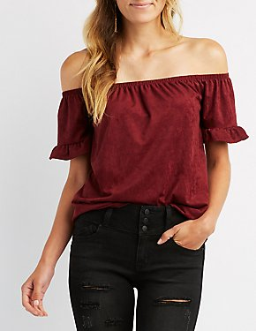 Faux Suede Ruffle Off-The-Shoulder Top
