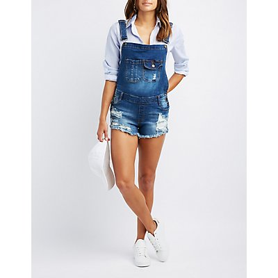 Machine Jeans Destroyed Denim Shortalls