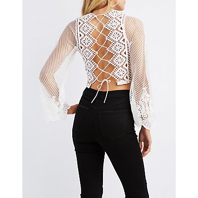 Crochet & Fishnet Crop Top