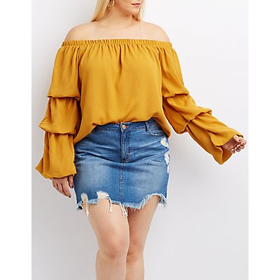 Plus Size Off-The-Shoulder Ruched Sleeve Top